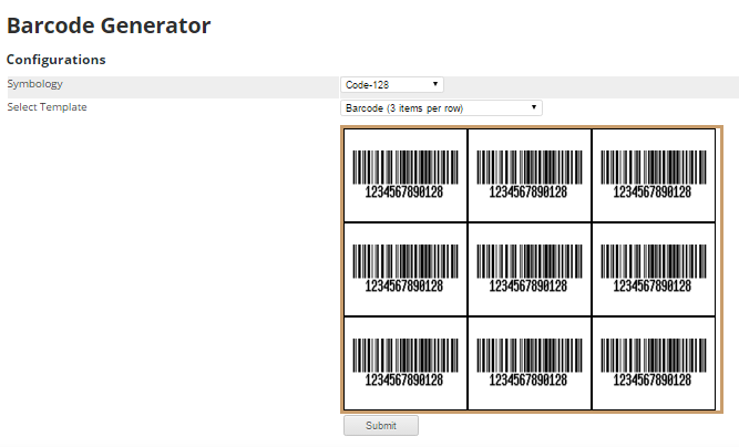 Configure barcode then submit. 9.6. Check Product Info by Barcode 10
