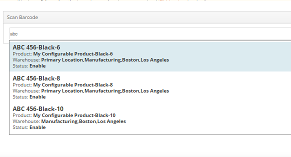 Enter a barcode, product name or product SKU into the search box. The system will suggest matching results as you type.
