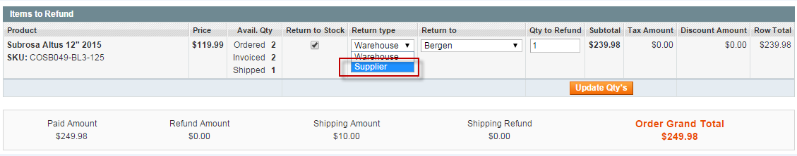 12.2. How Admin & Warehouse Managers Manage Drop Shipments In the back-end, go to Inventory Suppliers Edit Supplier Drop Shipments.