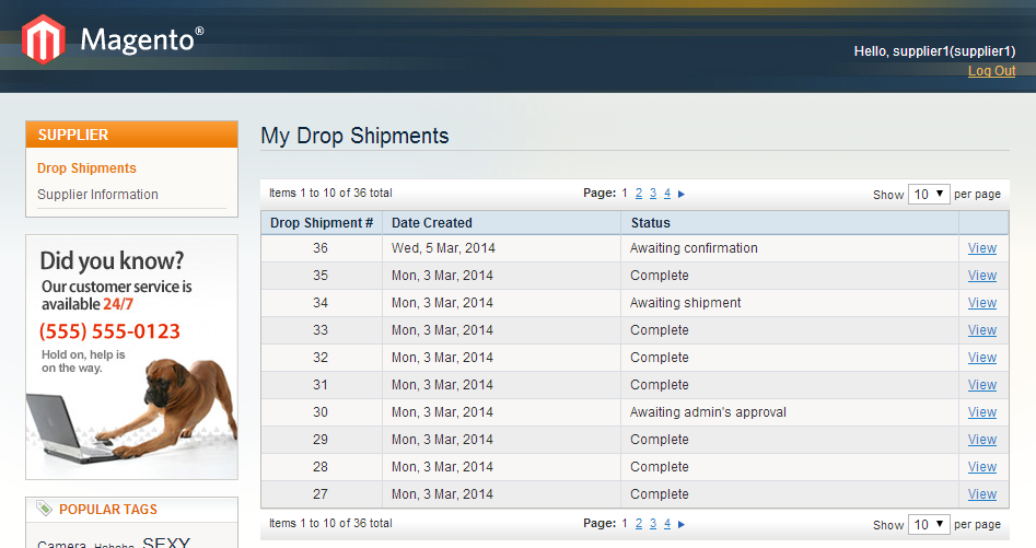 Drop Shipments tab: This tab shows Drop Shipment #, Date Created and Status. To see more details and edit each drop shipment, suppliers simply click on the View link in the Action column.