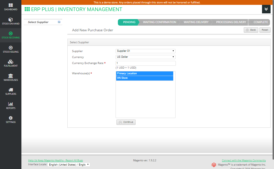 Next, select a supplier and warehouses (the extension allows you to select one or multiple warehouses at once).