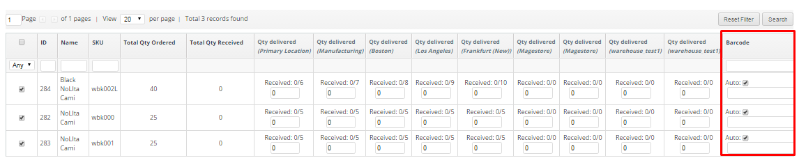 Choose the date of delivery and fill out the Qty. delivered to each warehouse. You can import a list of products delivered from CSV files, use barcode or add them manually.