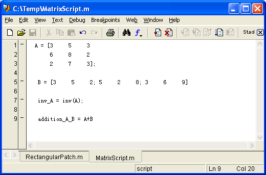 M-File as script file 26 Save file as filename.m Type what you want to do, eg.