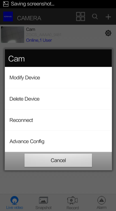 Connect IP Camera to WIFI network Tap the Setting icon advance Config.