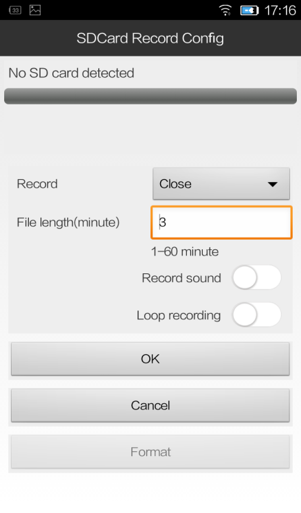To record on your micro SD card (Micro SD is not included) 1. Insert the Micro SD card and format. 2. Choose Record Resolution before using this feature 3.