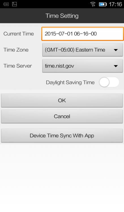 Time Setting: To sync with the smart phone and the app