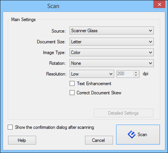 You see a window like this: Note: If you want to use a scan job that you created instead, select it from the Job list in the Document Capture Pro or Document Capture window, click the Start Job