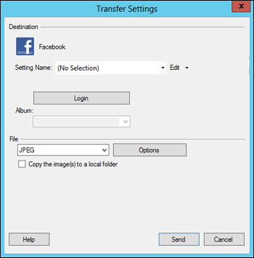 You see a window like this: Note: If you have already configured a Facebook account in Easy Photo Scan, you can select the Setting Name or Destination Name for the account, click Login if necessary,