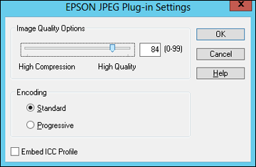 Note: The available settings may vary, depending on the operating system you are using. Setting Image Quality Options Encoding Embed ICC Profile Description Specifies the compression level.