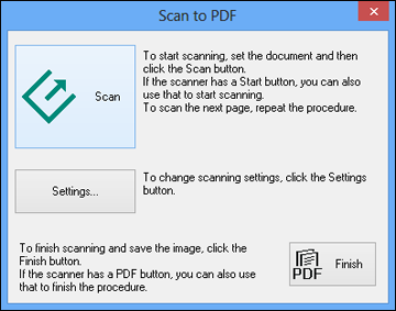 Scanning to a PDF File Using a Scanner Button You can scan to a PDF (Portable Document Format) file by pressing the You can select the following options as you scan to PDF: Scan multiple pages to one