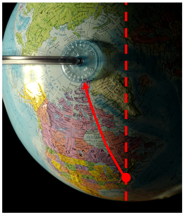 Follow the line of constant longitude from Chapel Hill to the hour circle. This line will intersect the hour circle at the time of sunrise or sunset.