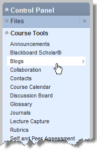 There is a second way to create a new blog. You can click on the Blogs link in the course Control Panel. This opens the Blogs Page, where you can create a new Blog. Why use Blogs?