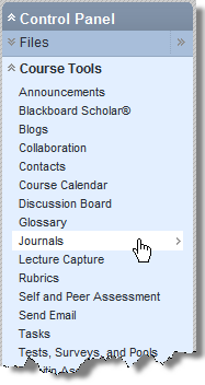 This opens the Journals Page, where you can create a new Journal. Why use Journals? o Instructors can ask students to reflect on a particular topic or aspect of the course.