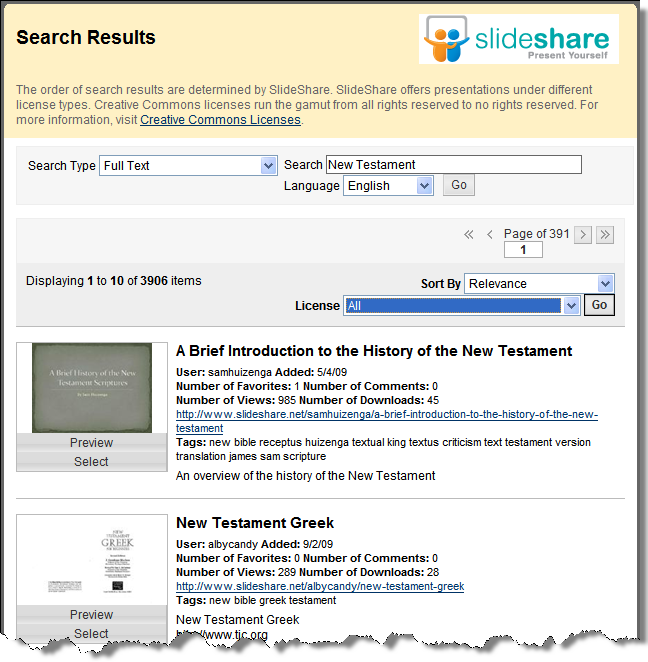 The image below shows what a SlideShare page may look like
