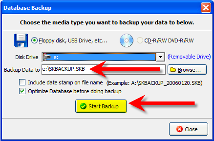 3. After selecting the drive to which the backup file will be placed, the Backup Data to field will automatically fill in with the drive letter you selected in the Disk Drive field and the backup