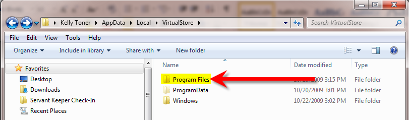 11. Double click the AppData folder to display its content: 12. In the AppData folder double click on the Local folder.