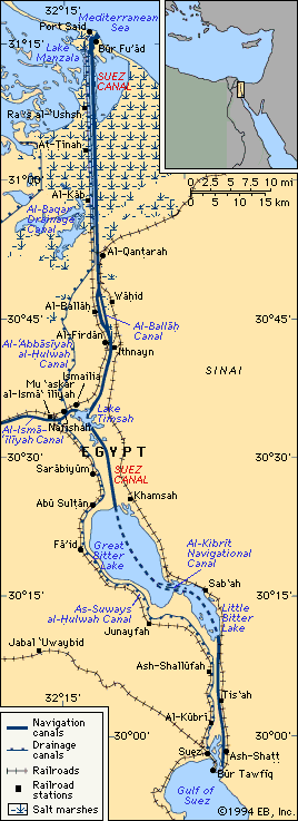 Suez Canal *The 101-mile waterway connecting the Mediterranean Sea to the Red