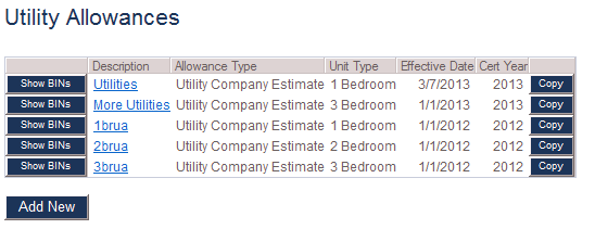 3.0 UTILITY ALLOWANCE OPTIONS After you click on the Utility Allowance button you ll see the Utility Allowances Screen and on it you ll see a list of Utility Allowances, which may be blank if there