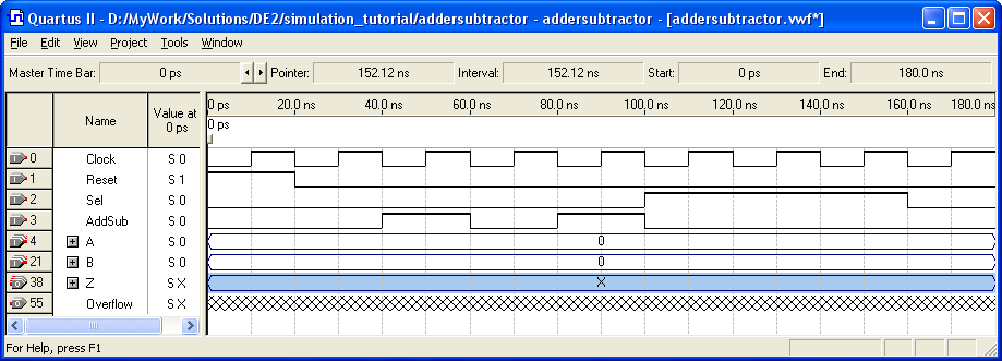 Figure 13. The specified input test vectors. Another convenient mechanism for changing the input waveforms is provided by the Waveform Editing tool, which is activated by the icon.