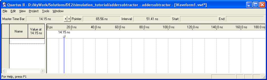 Figure 3. Need to prepare a new file. 2. The Waveform Editor window is depicted in Figure 4. Save the file under the name addersubtractor.vwf; note that this changes the name in the displayed window.