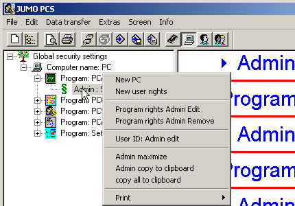 6 Editing user lists 6.2.2 User Using the right mouse button, click on a user, underneath a software in the navigation tree (e.g. Admin: Name), and you will then have the following function options.