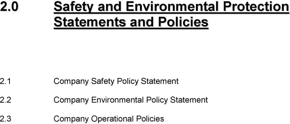 1 Company Safety Policy Statement 2.