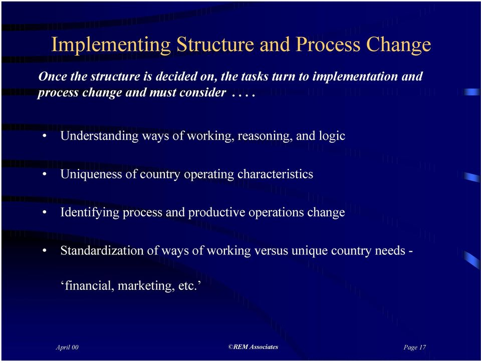 ... Understanding ways of working, reasoning, and logic Uniqueness of country operating characteristics