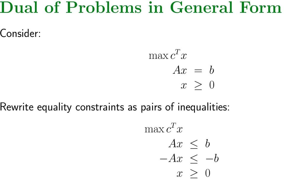 Rewrite equality constraints as