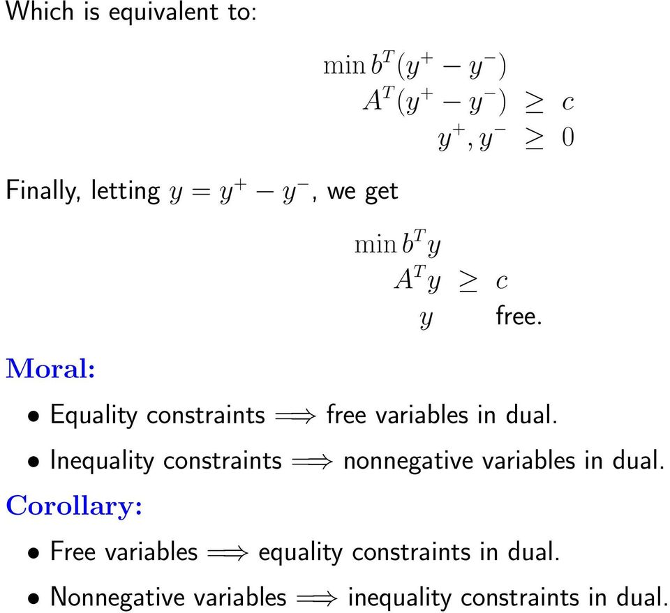 Equality constraints = free variables in dual.