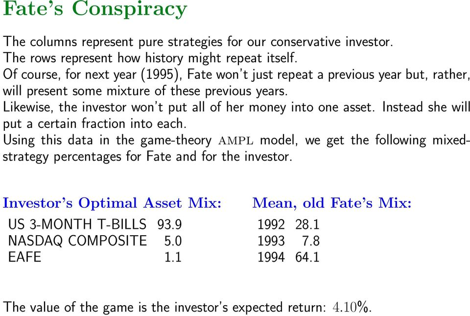 Likewise, the investor won t put all of her money into one asset. Instead she will put a certain fraction into each.