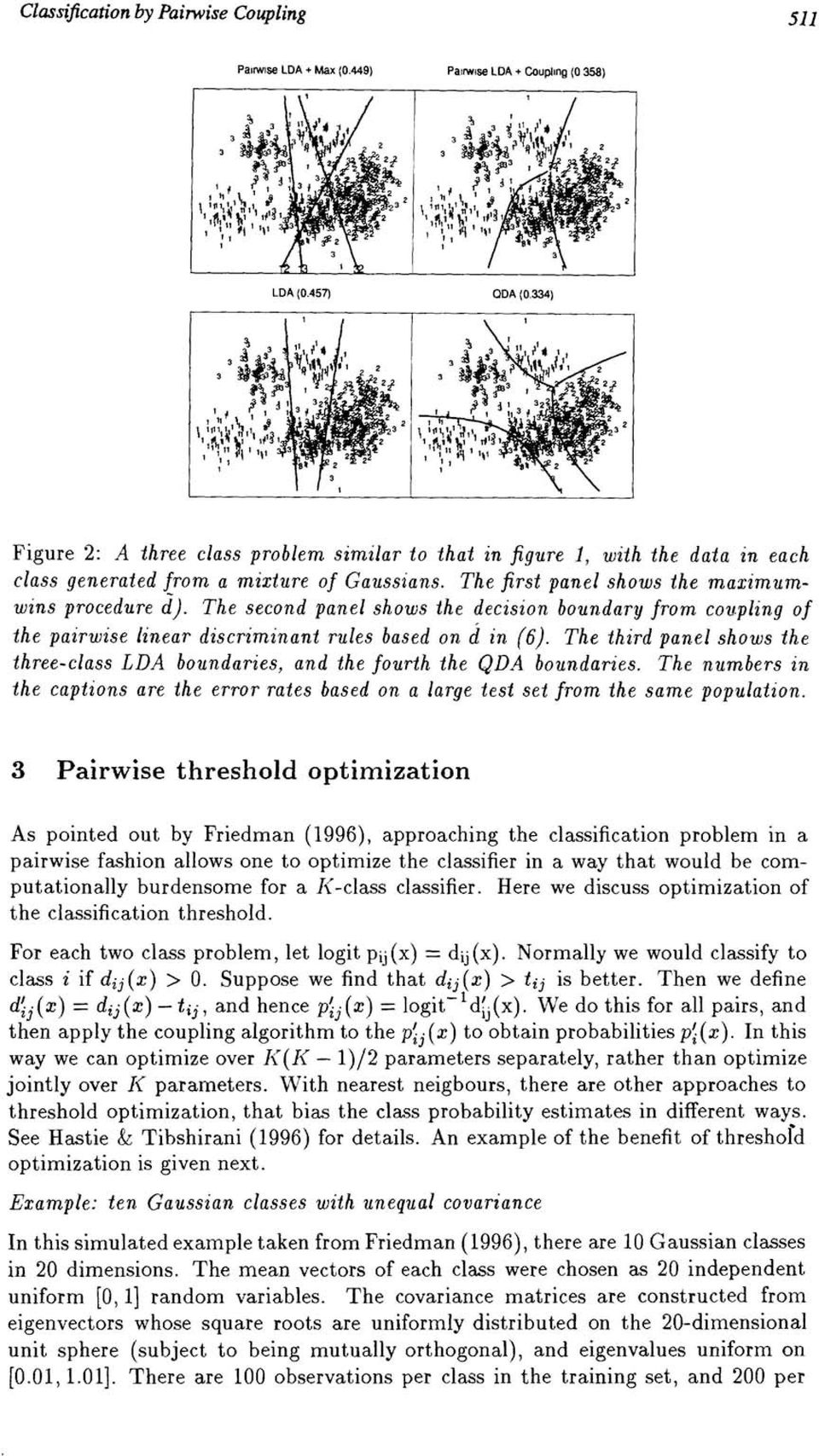 The second panel shows the decision boundary from coupling of the pairwise linear discriminant rules based on d in (6).