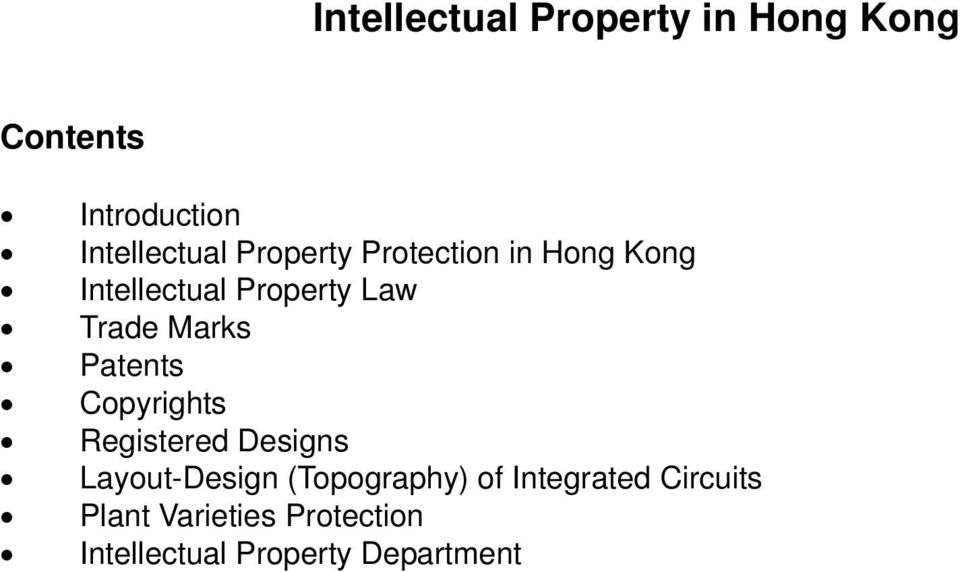 Patents Copyrights Registered Designs Layout-Design (Topography) of