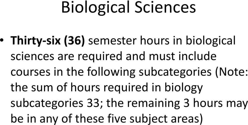 subcategories (Note: the sum of hours required in biology