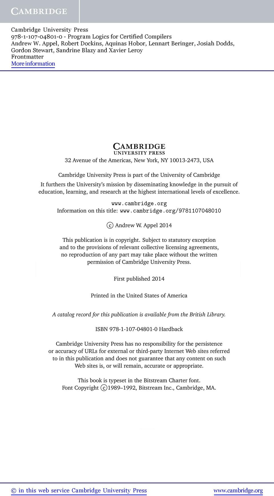 Subject to statutory exception and to the provisions of relevant collective licensing agreements, no reproduction of any part may take place without the written permission of Cambridge University