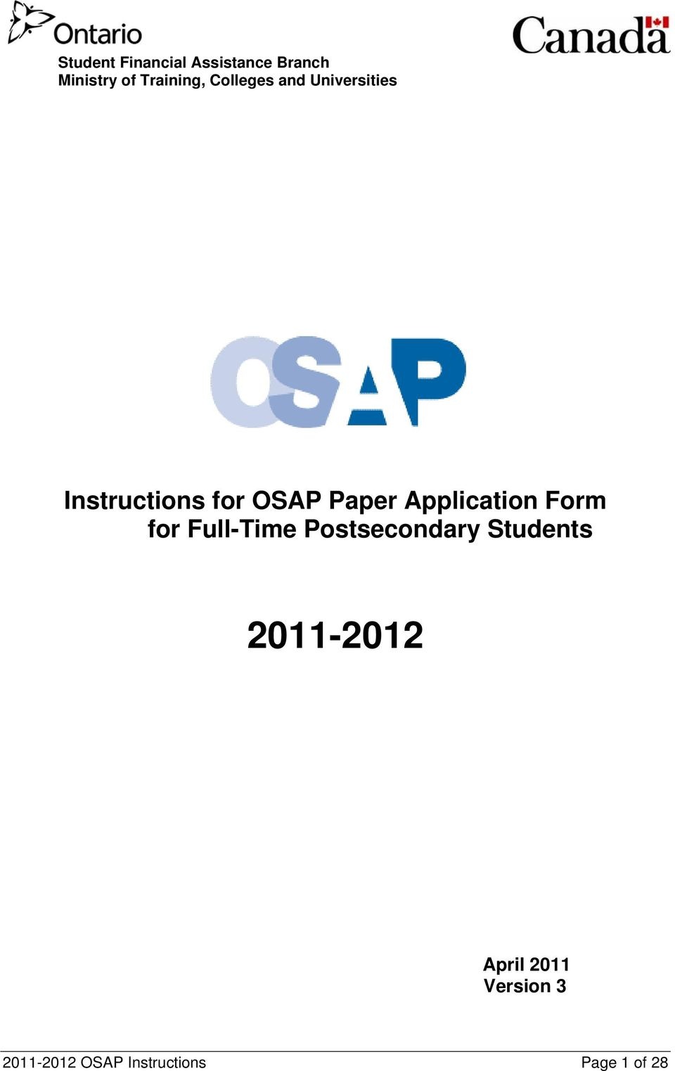 Application Form for Full-Time Postsecondary Students