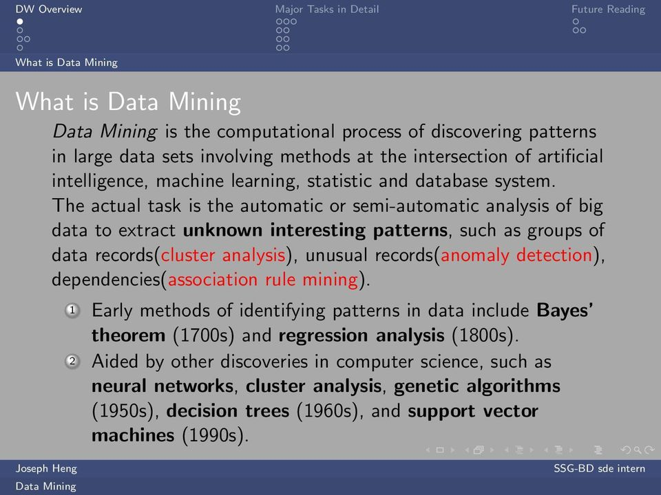 The actual task is the automatic or semi-automatic analysis of big data to extract unknown interesting patterns, such as groups of data records(cluster analysis), unusual