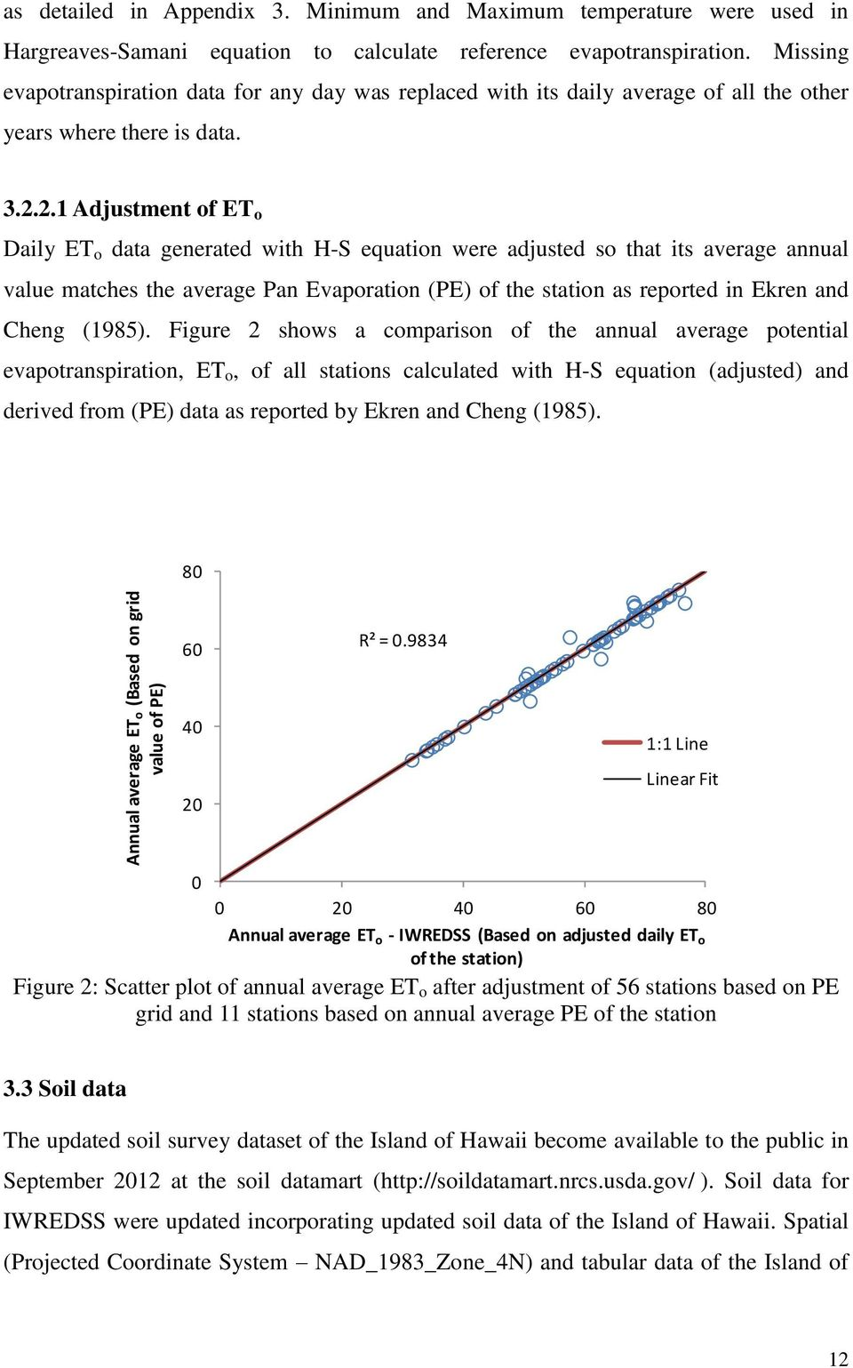 2.1 Adjustment of ET o Daily ET o data generated with H-S equation were adjusted so that its average annual value matches the average Pan Evaporation (PE) of the station as reported in Ekren and