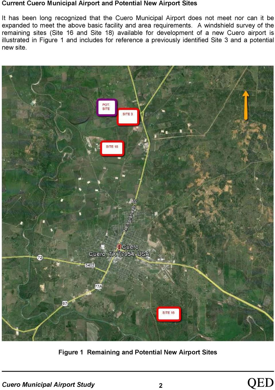 A windshield survey of the remaining sites (Site 16 and Site 18) available for development of a new Cuero airport is