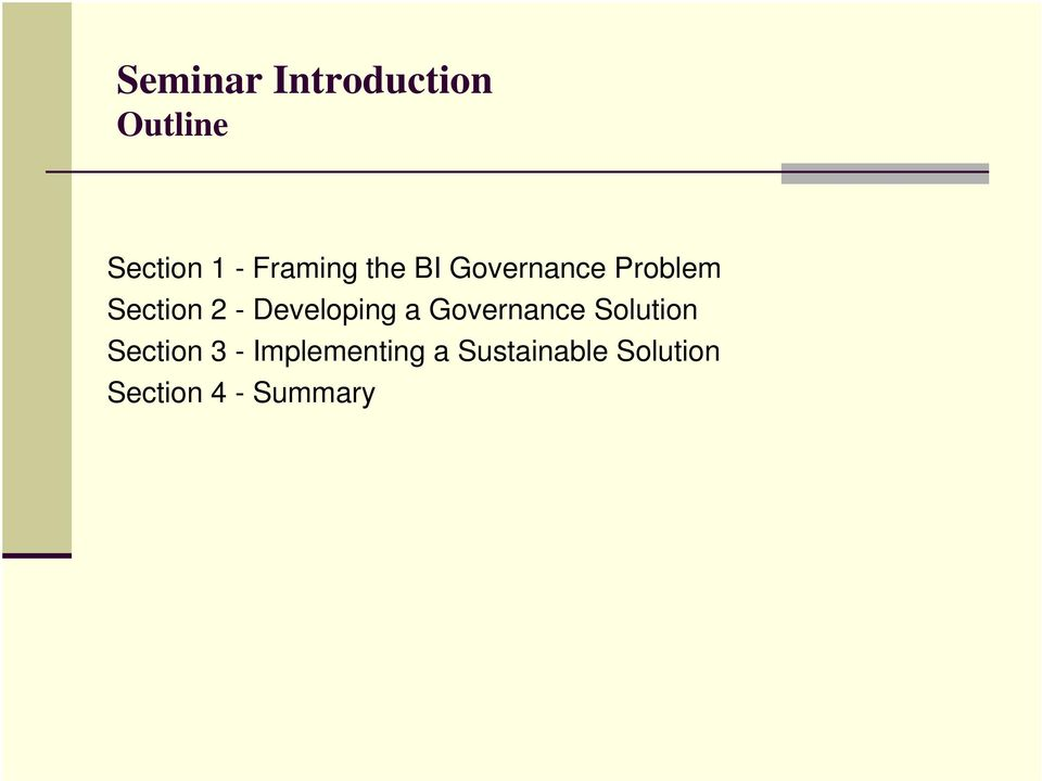 Developing a Governance Solution Section 3 -
