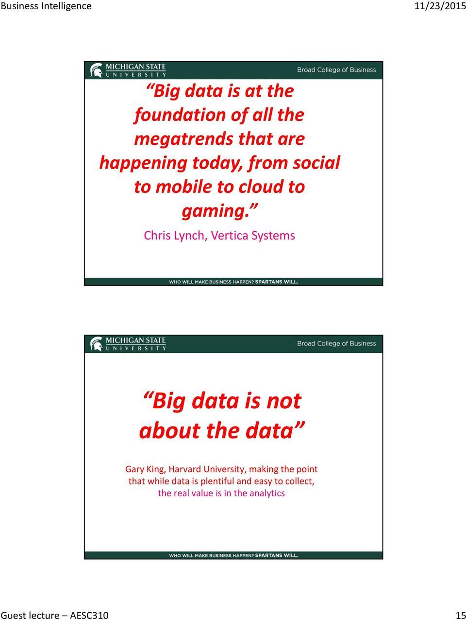 Chris Lynch, Vertica Systems Big data is not about the data Gary King, Harvard