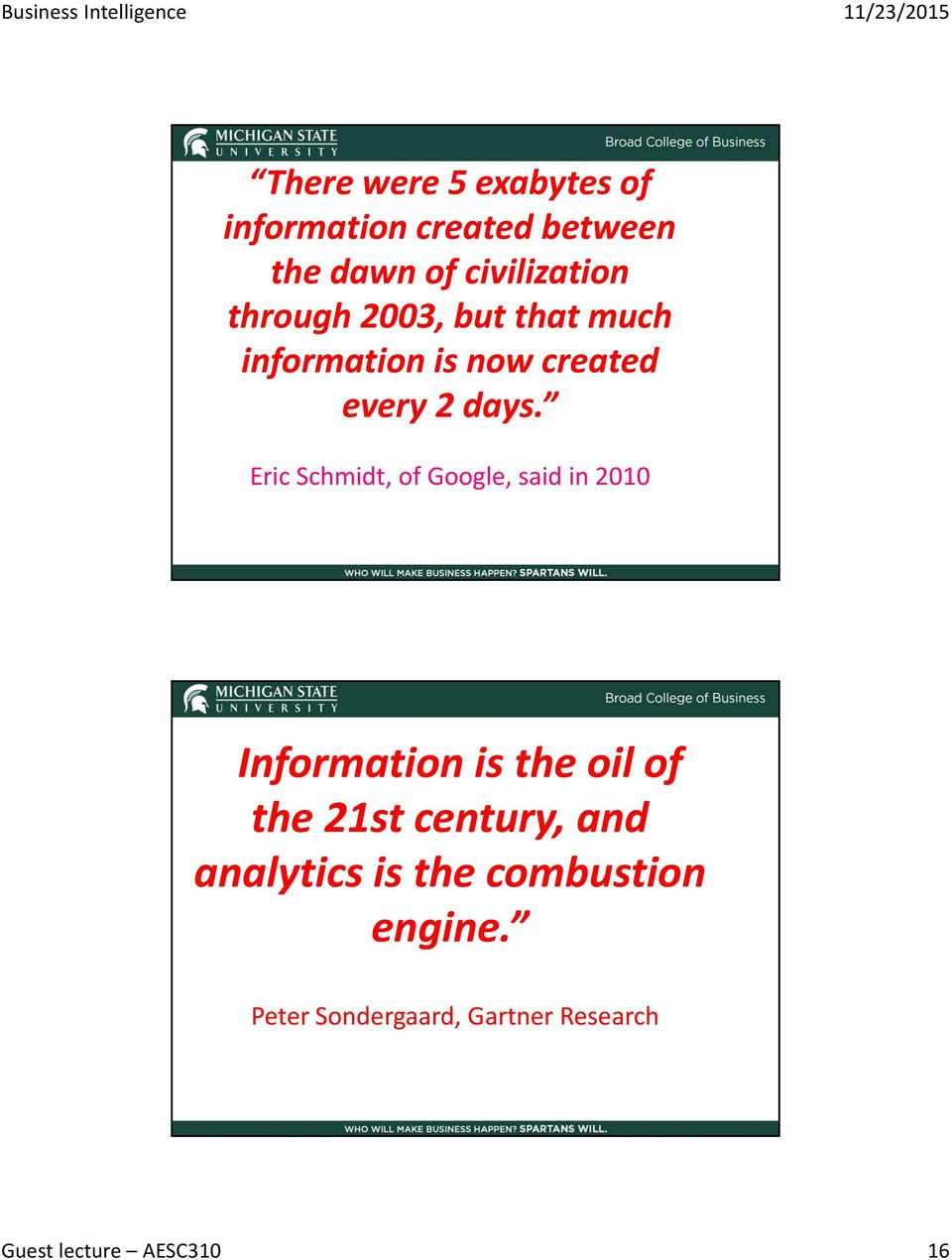 Eric Schmidt, of Google, said in 010 Information is the oil of the 1st century,