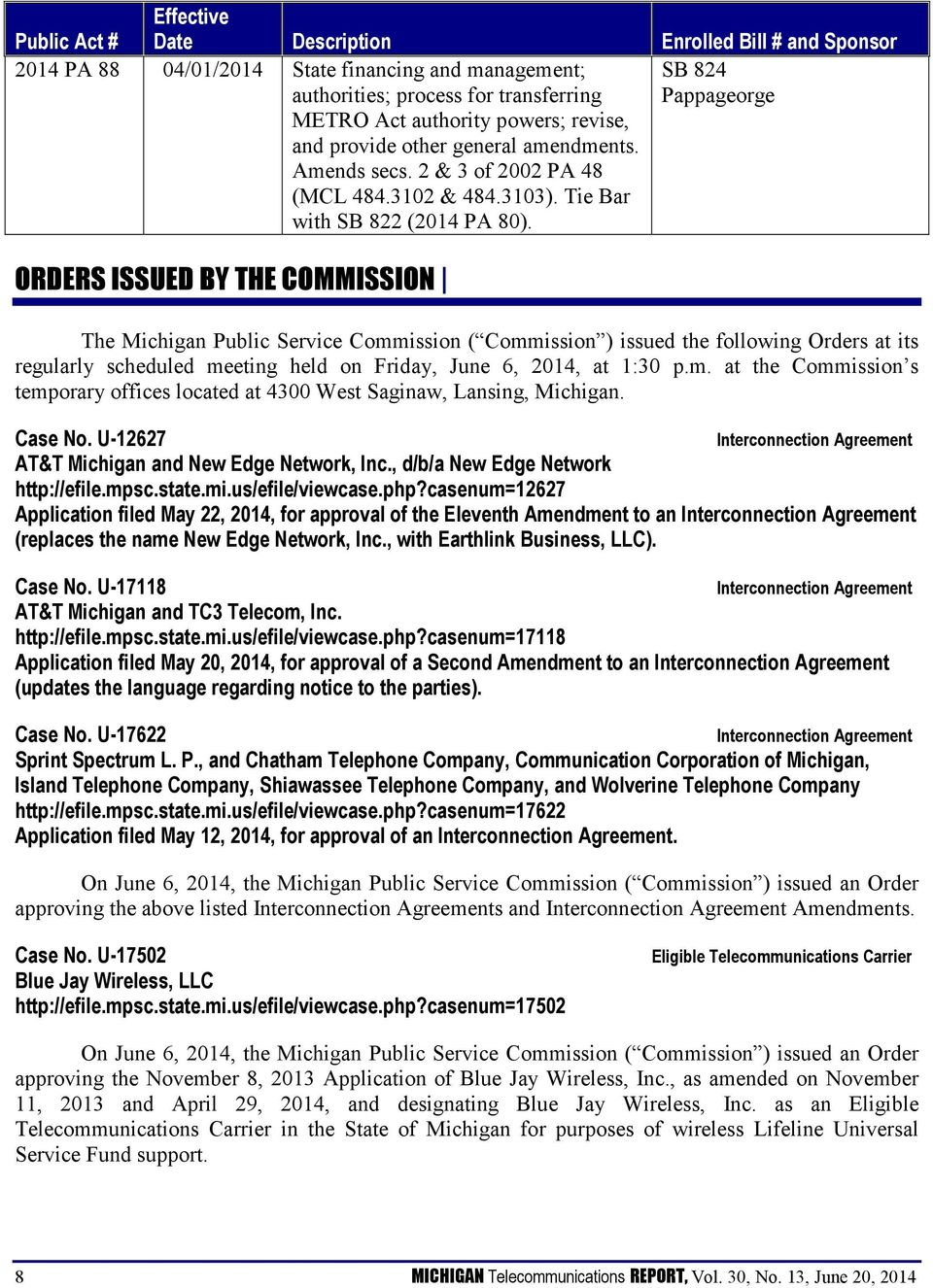 SB 824 Pappageorge ORDERS ISSUED BY THE COMMISSION The Michigan Public Service Commission ( Commission ) issued the following Orders at its regularly scheduled meeting held on Friday, June 6, 2014,