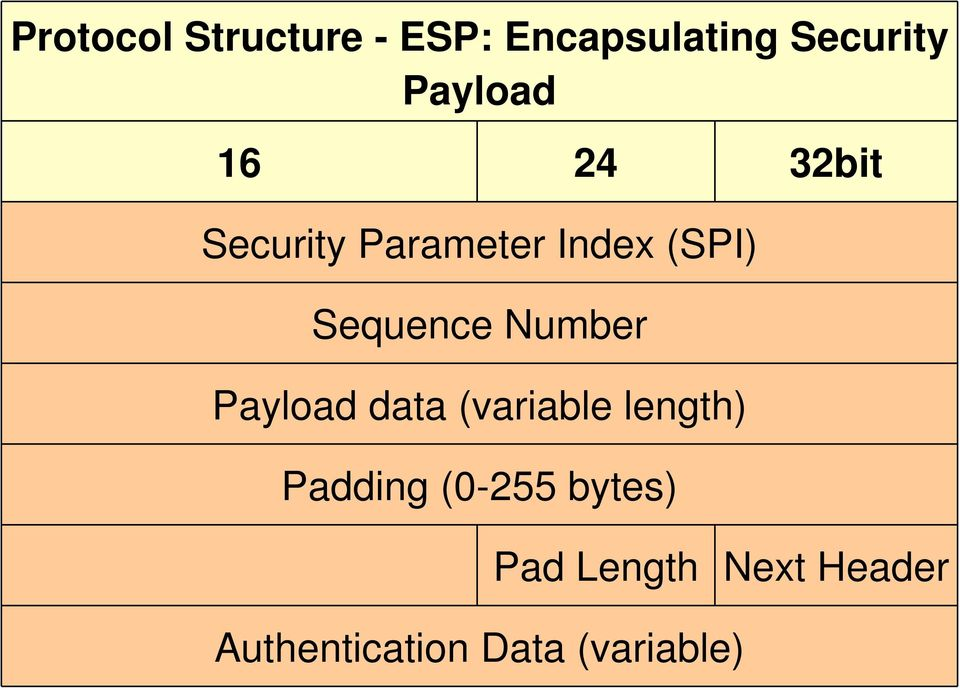 Sequence Number Payload data (variable length) Padding