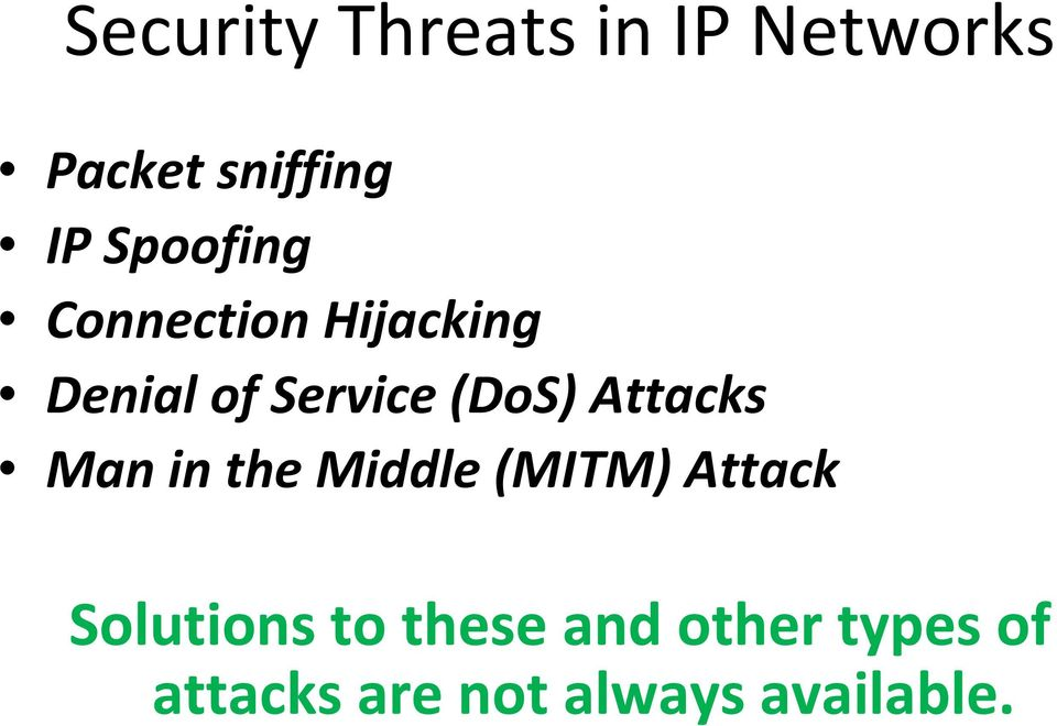 Attacks Man in the Middle (MITM) Attack Solutions to