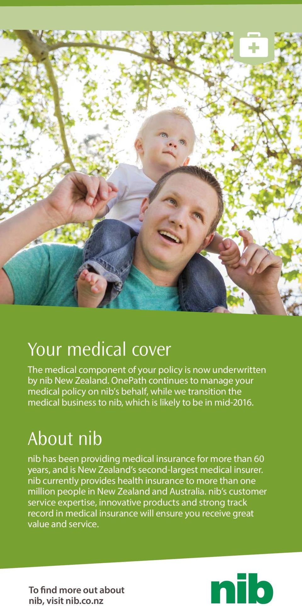 About nib nib has been providing medical insurance for more than 60 years, and is New Zealand s second-largest medical insurer.