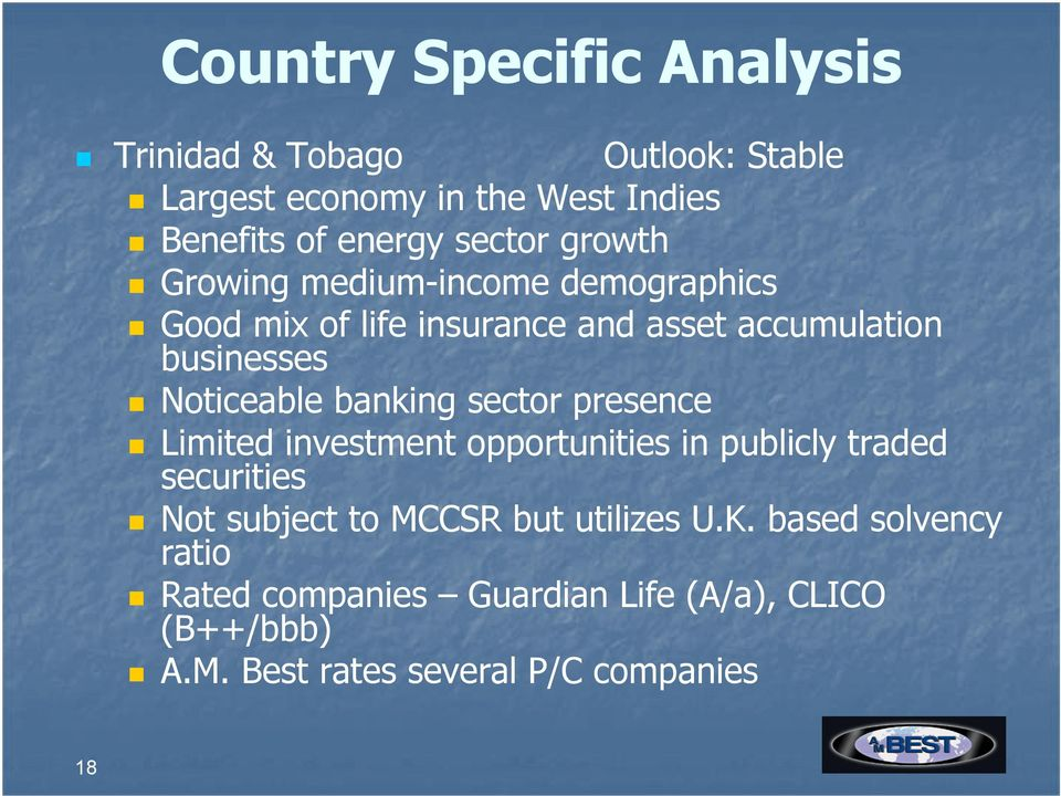 Noticeable banking sector presence Limited investment opportunities in publicly traded securities Not subject to MCCSR