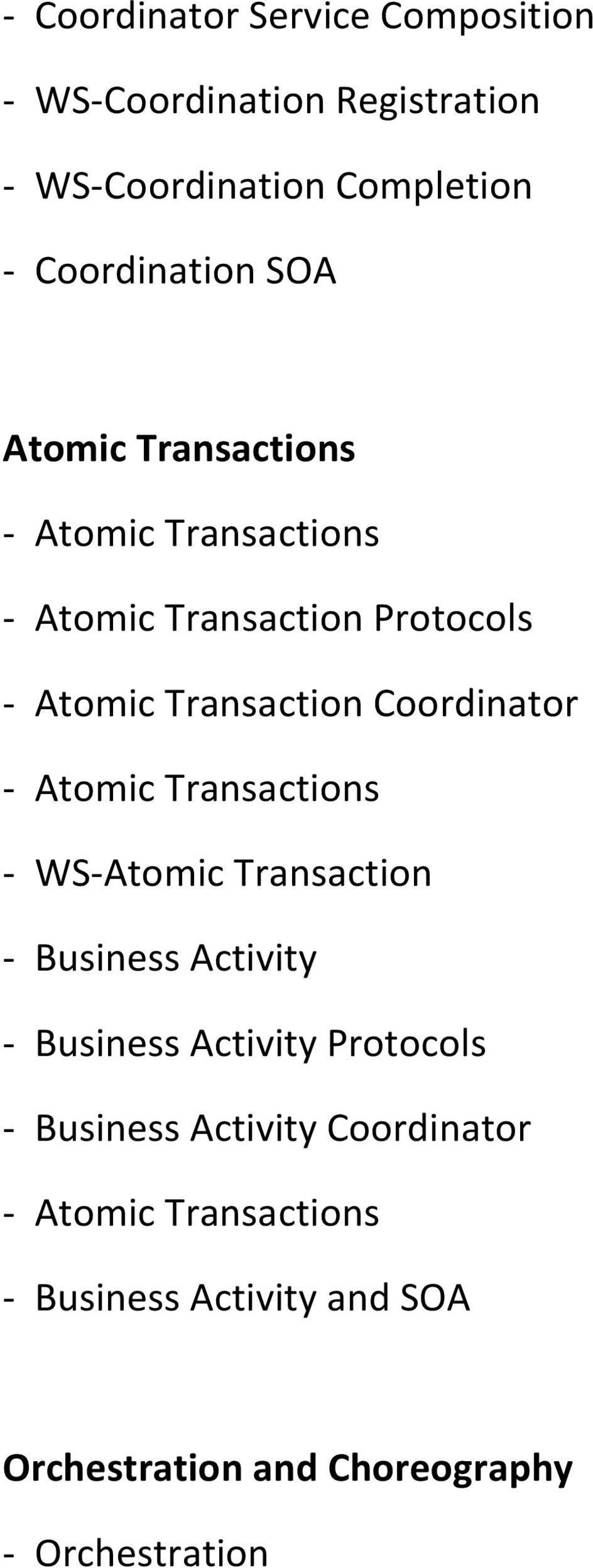 - Atomic Transactions - WS-Atomic Transaction - Business Activity - Business Activity Protocols - Business