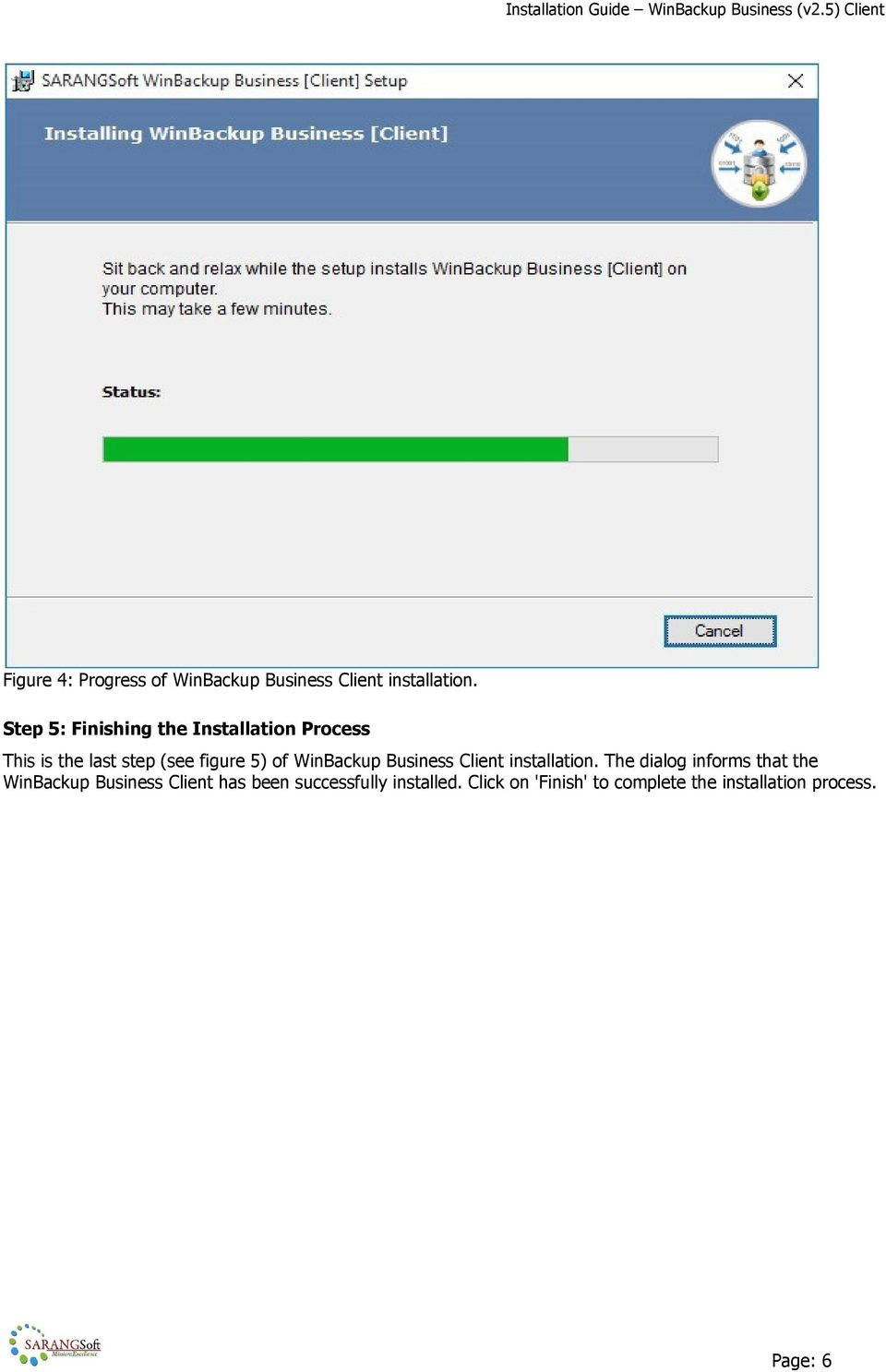 WinBackup Business Client installation.