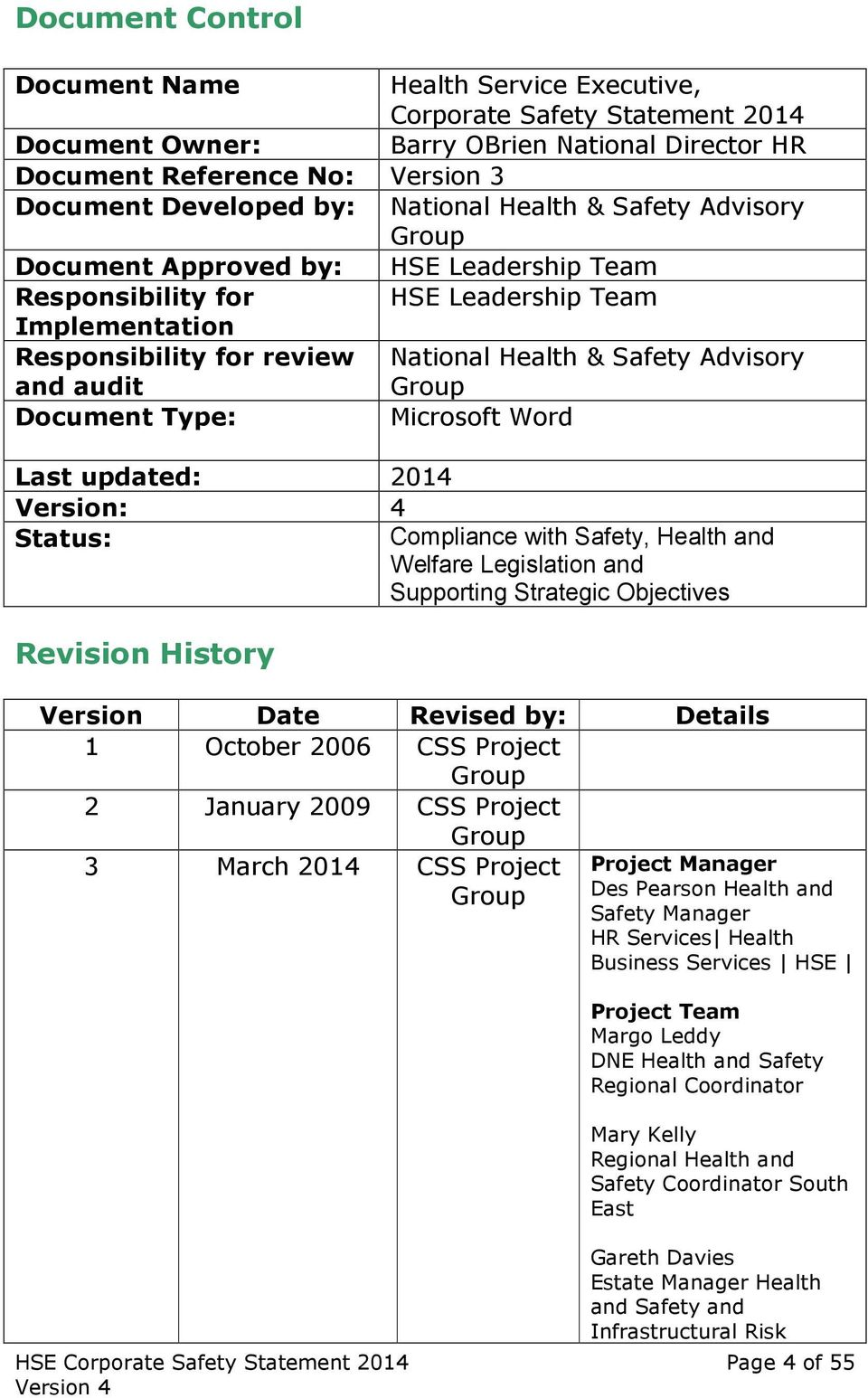 Advisory Group Document Type: Microsoft Word Last updated: 2014 Version: 4 Status: Compliance with Safety, Health and Welfare Legislation and Supporting Strategic Objectives Revision History Version