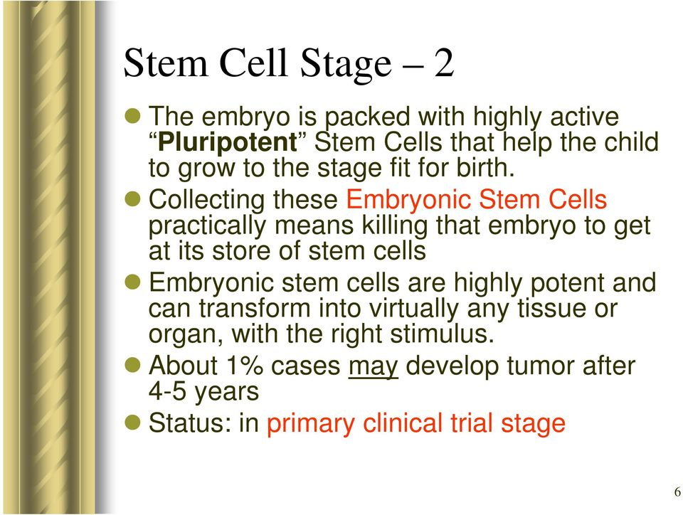 Collecting these Embryonic Stem Cells practically means killing that embryo to get at its store of stem cells